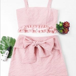 Pink and white checkered tie skirt set